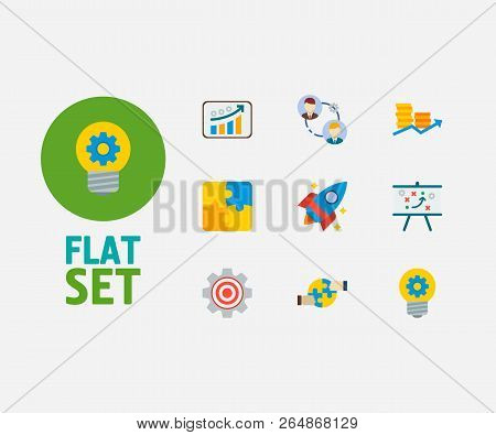 Technology Cooperation Icons Set. Finance And Technology Cooperation Icons With Cooperation, Technic
