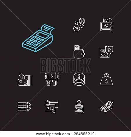 Money Payment Icons Set. Online Payment And Money Payment Icons With Bank Atm, Wallet And Credit. Se