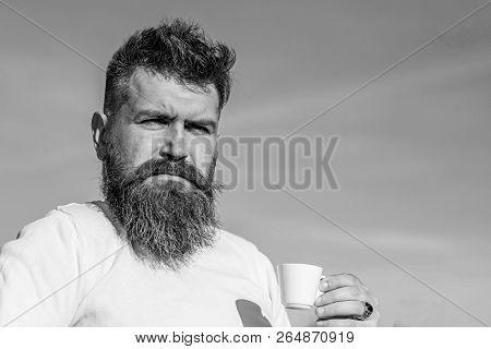 Man With Long Beard Enjoy Coffee. Coffee Gourmet Concept. Bearded Man With Espresso Mug, Drinks Coff