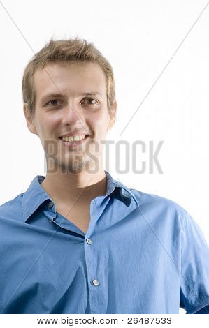 Portrait of young happy caucasian man isolated over white