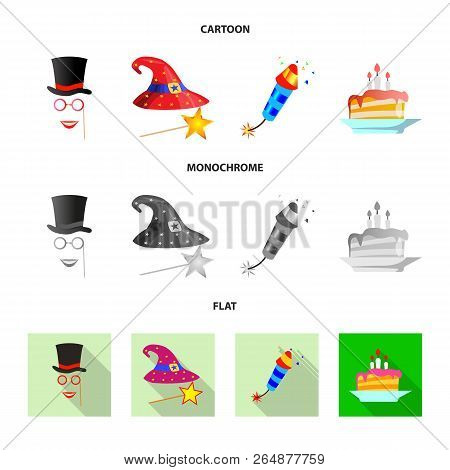 Vector Illustration Of Party And Birthday Logo. Set Of Party And Celebration Stock Symbol For Web.