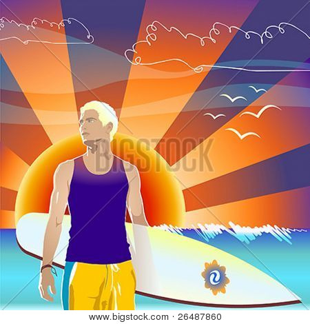 Vector illustration of trendy surfer against sunset ocean background