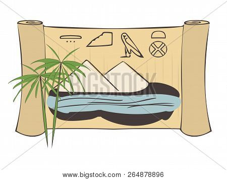 Ancient Egypt View, Vector Illustration Of Papyrus Plant And Scroll With Nile, Pyramids, Country Nam