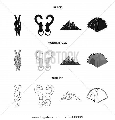 Vector Illustration Of Mountaineering And Peak Logo. Set Of Mountaineering And Camp Vector Icon For