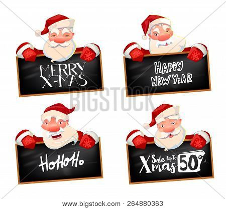 Santa Claus Holding Black Chalkboard With Hand Lettered X-mas Sale Offer. Characters Set. Holidays A