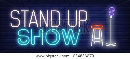 Standup Show Neon Sign. Microphone And Stool. Comedy Show, Performance, Concert. Night Bright Advert