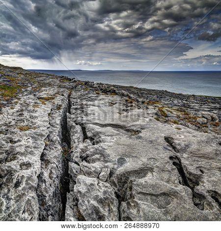 Atlantic Coastline, County Clare. The Burren Near West Derreen, West Eire