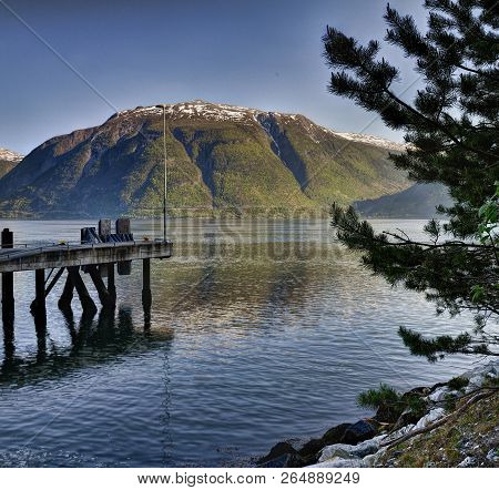 Ferry Pier, Sognefjord. Sogn Og Fjordane Is A County In Western Norway
