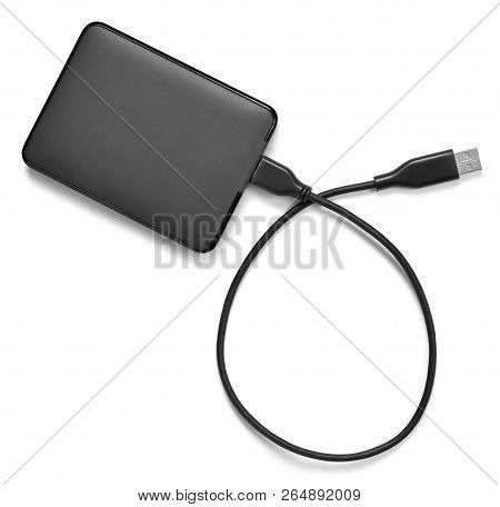 External Hard Disk With Cable, Isolated On White Background. Small Modern Hard Drive, Pc Security.