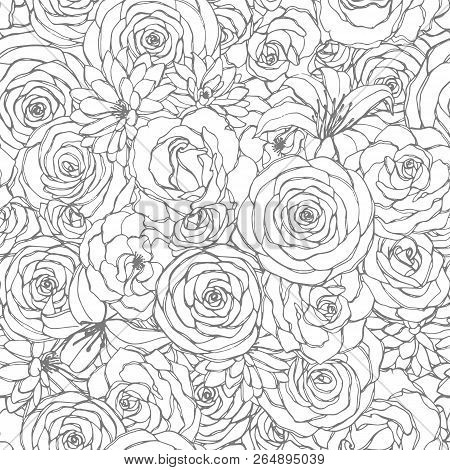 Vector Seamless Pattern With Rose, Lily, Peony And Chrysanthemum Flowers Line Art On The White Backg