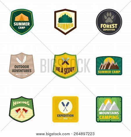 Forest Camp Logo Emblem Set. Flat Set Of 9 Forest Camp Vector Logo Emblem For Web Design