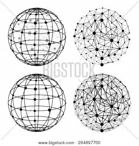Wireframe Sphere With Dots Set Vector Illustration. Mesh Polygonal Globe Structure. Global Network C
