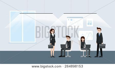 Modern Office Interior With Workers Poster Vector Illustration. People Working Together Close Teamwo