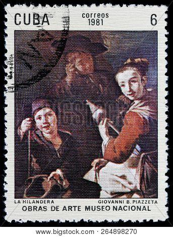 Luga, Russia - September 12, 2018: A Stamp Printed By Cuba Shows Painting Spinner By Italian Rococo