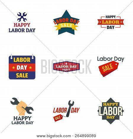 Labor Day Final Sale Logo Set. Flat Set Of 9 Labor Day Final Sale Vector Logo For Web Design