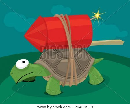 Turtle with a rocket.