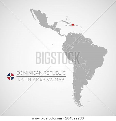 Map Of Latin America With The Identication Of Dominican Republic. Map Of Dominican Republic. Politic