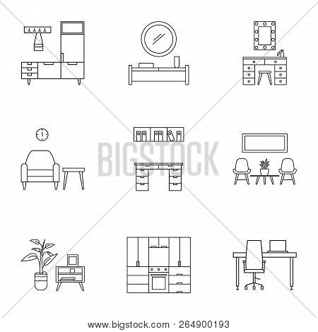 House Furniture Icon Set. Outline Set Of 9 House Furniture Vector Icons For Web Design Isolated On W