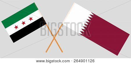 Qatar And Syria. The Qatari And Syrian National Coalition Flags. Official Colors. Correct Proportion