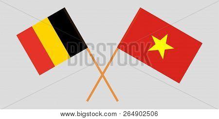 Socialist Republic Of Vietnam And Belgium. The Vietnamese And Belgian Flags. Official Colors. Correc