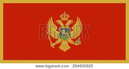 Flag of Montenegro in official rate and colors, vector. poster