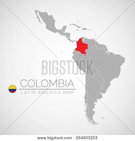 Map Of Latin America With The Identication Of Colombia. Map Of Colombia. Political Map Of America In