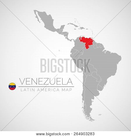 Map Of Latin America With The Identication Of Venezuela. Map Of Venezuela. Political Map Of America