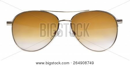 Gold Colored Sunglasses, Isolated On White Background. Golden Sunglasses With Toned Glass. Front Vie