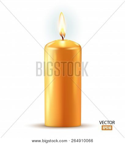 Wax Candle, Candle Burn Isolated On White Background. Wax, Fire, Celebration, Candlelight Dinner, Ch