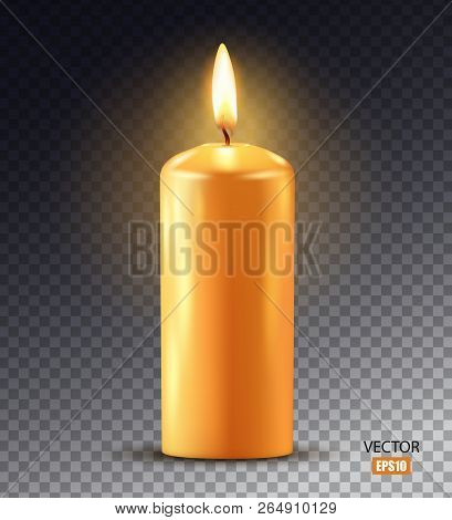 Wax candle, candle burn isolated on transparent background. Wax, fire, celebration, candlelight dinner, Christmas candle, religious attribute. 3D effect. Vector illustration. EPS10