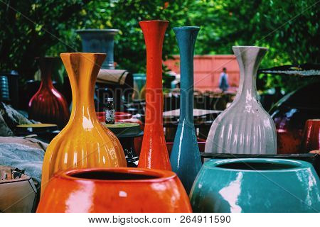 The Colorful (red, Blue, Gray And Yellow) Handmade Ceramic Vases (jar) For Art Background, Texture O