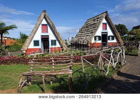 Traditional Madeira Houses At Santana, Madeira, Portugal
