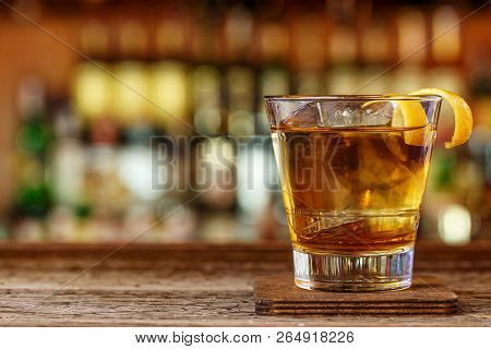 Cocktail With Whiskey In A Glass Old Fashion, Picture For A Cocktail Menu, Space For Text