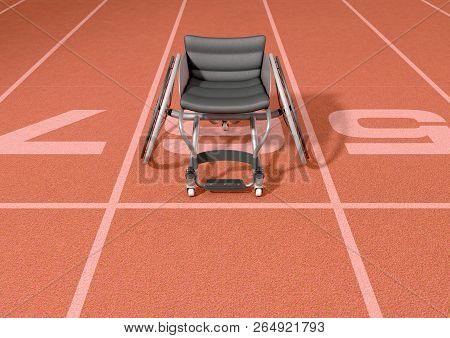 Sports Wheelchair On Athletics Track