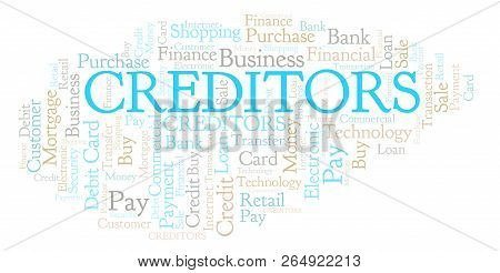 Creditors Word Cloud. Wordcloud Made With Text Only.