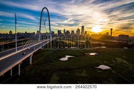Wide Perspective Bridge And River Water Ponds Dallas Texas Sunrise Above Margaret Hunt Hill Bridge M