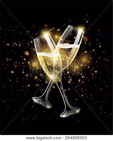 Sparkling Glasses Of Champagne On Black Background, Bokeh Effect