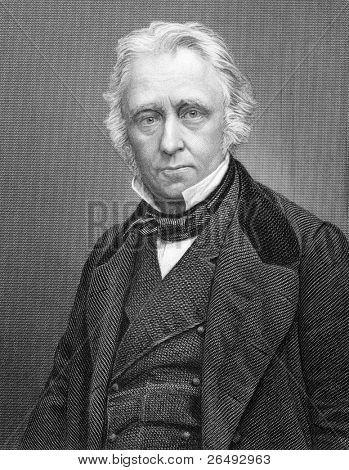 Thomas Babington Macaulay, 1st Baron Macaulay (1800-1859). Engraved by C.Cook and published in Imperial Dictionary of Universal Biography, United Kingdom, 1860.