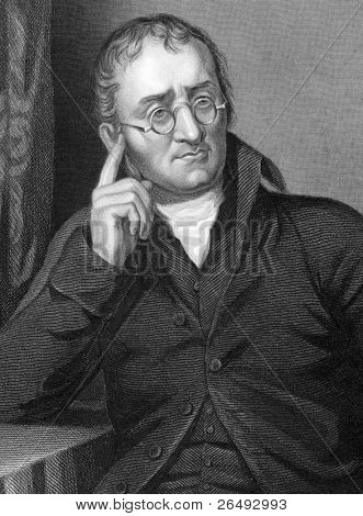 John Dalton (1766-1844). Engraved by C.Cook and published in Chemistry, Theoritical, Practical & Analytical, United Kingdom, 1860.