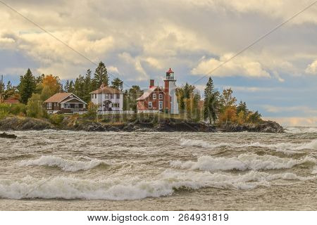 Wild Stormy Waves Of Lake Superior At Eagle Harbor, Michigan