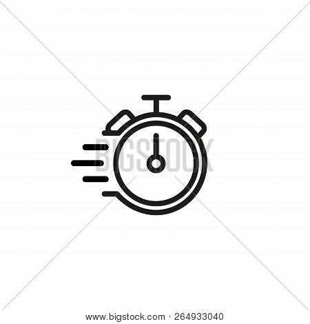 Alarm clock line icon. Urgency, deadline, working hour. Fast time concept. Vector illustration can be used for topics like business, competition, time management poster