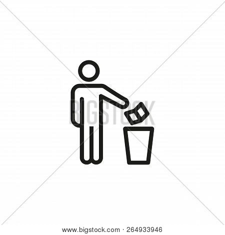 Man Throwing Paper Into Dustbin Line Icon. Trash, Garbage, Waste. Keeping Clean Concept. Vector Illu