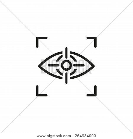 Retina scanning line icon. Biometric verification, recognition, retina sensor. Biometrics concept. Vector illustration can be used for topics like technology, security, ophthalmology poster