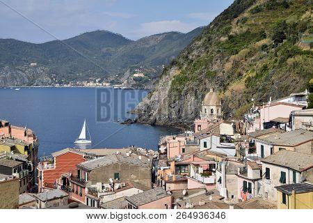 A Sailboat In The Gulf Of Venazza In The Cinque Terre In Liguria - Italy