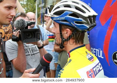 Ruzomberok, Slovakia - September 14, 2018: Julian Alaphilippe Prepare Before Second Stage Of Road Cy