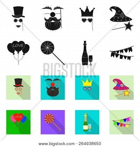 Isolated Object Of Party And Birthday Symbol. Collection Of Party And Celebration Stock Symbol For W