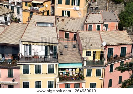 View Of The Roofs And Houses Of The Village Of Vernazza - Liguria - Italy