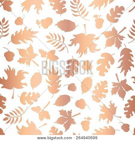 Rose Gold Foil Autumn Leaf Silhouettes Seamless Vector Background. Copper Shiny Abstract Fall Leaves