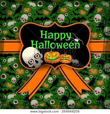 Happy Halloween Seamless Pattern With Symbols Of Holiday Orange Tape And Blank With Vintage Frame Fl