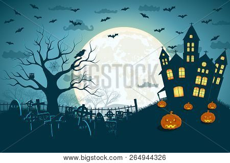 Halloween Scary Cemetery Picture With Silhouettes Of Castle Crosses And Dead Tree At Moonlight Backg